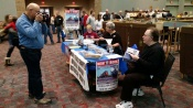 The NTX NRHS table at the January 2016 Plano Train Show. Author David Bernstein on the right.